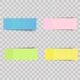 Vector las notas pegajosas coloridas, etiquetas engomadas de los posts con las sombras aisladas en un fondo transparente stock de ilustración