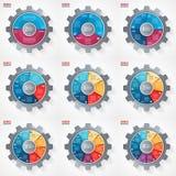 Vector las plantillas infographic del círculo del estilo del engranaje del negocio y de la industria para los gráficos, las carta Imágenes de archivo libres de regalías