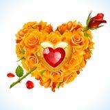 Vector las rosas amarillas y el cristal rojo en la forma de corazón Fotografía de archivo libre de regalías