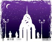 Vector las siluetas hombre y mujeres en ciudad de la noche del fondo Foto de archivo libre de regalías