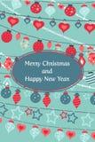 Vector las tarjetas de felicitaciones coloridas para la Feliz Navidad con las bolas, árbol, flor, guirnaldas, texto stock de ilustración