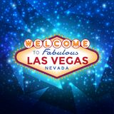 Welcome to Las Vegas Sign. Vector Las Vegas Sign against the blue sparkling background Stock Image