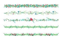 Vector las vides florales, la frontera, la liana con las hojas y las flores wat del dibujo Fotos de archivo