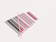Vector. Laser beam and barcode Stock Images