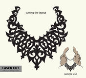 Vector laser cutting necklace. Digital vector file for laser cutting. Swirly ornate fashion necklace vector illustration