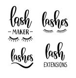 Vector lashes lettering beauty salon. Lash maker, extensions designs. Vector lashes lettering beauty salon. Lash maker, extensions calligraphy designs Stock Photos