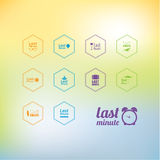 Vector last minute icon pack. Nine different last minute icons f. Or various opportunities. Symbols in four different colors. Element for presentation, website vector illustration
