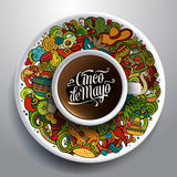 Vector latinamerican illustration with a Cup of coffee Royalty Free Stock Images