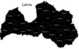Vector Latvia map. Blind map ofLatvia with regions borders and his names Stock Photos