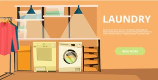 Vector laundry horizontal banner in flat style. Vector laundry horizontal flat banner with laundry equipment. Laundry service concept design element for web Stock Photo