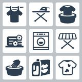 Vector laundry icons set Stock Photo