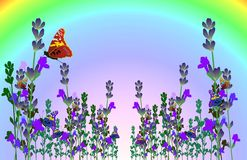 Vector lavender butterfly card Stock Photos