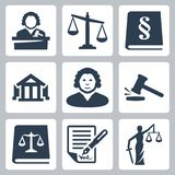 Vector law and justice icons set Royalty Free Stock Photography