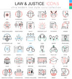 Vector Law and justice ultra modern color outline line icons for apps and web design. stock illustration