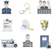 Vector law and order icon set. Part 2. Set of juridical related icons Royalty Free Stock Photography