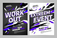 Vector layout design template for sport. Vector layout design template for extreem sport event, tournament or championship Royalty Free Stock Photos