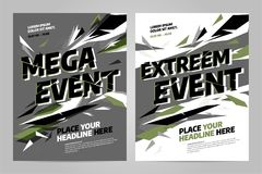 Vector layout design template for sport. Vector layout design template for extreem sport event, tournament or championship Royalty Free Stock Images