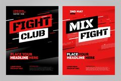 Vector layout design template for sport. Layout design template for fight event or other sport event. Can be adapt to Brochure, Annual Report, Magazine, Poster Royalty Free Stock Photo