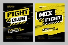 Vector layout design template for sport. Layout design template for fight event or other sport event. Can be adapt to Brochure, Annual Report, Magazine, Poster Stock Images