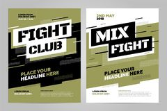 Vector layout design template for sport. Layout design template for fight event or other sport event. Can be adapt to Brochure, Annual Report, Magazine, Poster Stock Photos