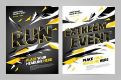 Vector layout design template for sport. Vector layout design template for extreem sport event, tournament or championship Stock Images