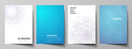 Vector layout of A4 format modern cover mockup design templates for brochure, magazine, flyer, booklet, report. Big Data. Visualization, geometric communication stock illustration