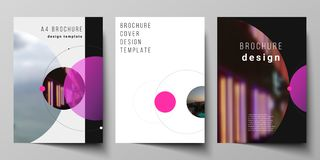 Vector layout of A4 format modern cover mockups design templates for brochure, flyer, booklet, report. Simple design. Futuristic concept. Creative background royalty free illustration
