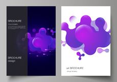The vector layout of A4 format modern cover mockups design templates for brochure, magazine, flyer, booklet, annual. Report. Black background with fluid royalty free illustration