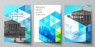 The vector layout of A4 format modern cover mockups design templates for brochure, magazine, flyer, booklet, annual. Report. Blue color polygonal background Stock Illustration