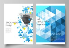 The vector layout of A4 format modern cover mockups design templates for brochure, magazine, flyer, booklet, annual. Report. Blue color polygonal background royalty free illustration