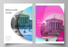 The vector layout of A4 format modern cover mockups design templates for brochure, magazine, flyer, booklet, annual. Report. Creative modern bright background royalty free illustration