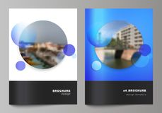 The vector layout of A4 format modern cover mockups design templates for brochure, magazine, flyer, booklet, annual. Report. Creative modern blue background stock illustration