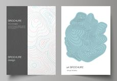 The vector layout of A4 format modern cover mockups design templates for brochure, magazine, flyer, booklet, annual. Report. Topographic contour map, abstract vector illustration