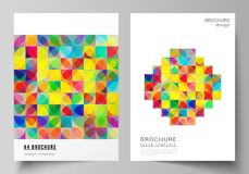 Vector layout of A4 format modern cover mockups design templates for brochure, magazine, flyer, booklet, report. Abstract background, geometric mosaic pattern vector illustration