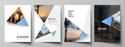 The vector layout of A4 format modern cover mockups design templates for brochure, magazine, flyer, booklet, report. Creative modern background with blue vector illustration
