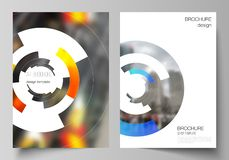 Vector layout of A4 format modern cover mockups design templates for brochure, magazine, flyer, booklet, report. Futuristic design circular pattern, circle vector illustration