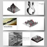 Vector layout of square format covers design templates for trifold brochure, flyer, magazine. Big data. Dynamic. Geometric background. Cubes pattern design with royalty free illustration