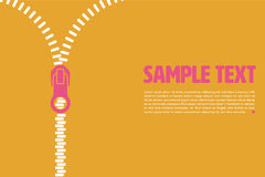 Vector layout template with open zipper Stock Image