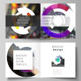 The vector layout of two covers templates for square design bifold brochure, magazine, flyer, booklet. Futuristic design. Circular pattern, circle elements vector illustration