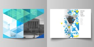 The vector layout of two A4 format cover mockups design templates for bifold brochure, magazine, flyer, booklet, annual. Report. Blue color polygonal background stock illustration