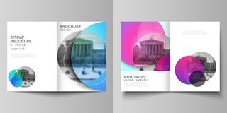 The vector layout of two A4 format cover mockups design templates for bifold brochure, magazine, flyer, booklet, annual. Report. Creative modern bright royalty free illustration