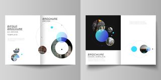 Vector layout of two A4 format modern cover mockups design templates for bifold brochure, flyer, booklet. Simple design. Futuristic concept. Creative background vector illustration