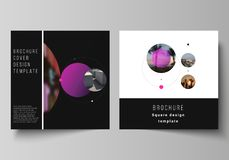 Vector layout of two square format covers design templates for brochure, flyer, magazine.Simple design futuristic. Concept. Creative background with circles and vector illustration