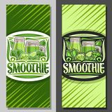 Vector layouts for Green Smoothie. Coupon with illustration of juicy veggies set, bottle and mason jar with homemade blended beverage, voucher with lettering vector illustration