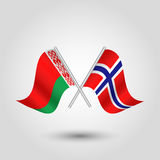 Vector le bandiere bielorusse e norvegesi attraversate sui bastoni d'argento - simbolo della Bielorussia e della Norvegia Fotografie Stock