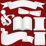 Vector le bandiere, i rotoli e l'insieme di carta del diploma Illustrazione di Stock