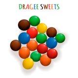 VECTOR le caramelle colorate del confetto, mucchio dei dolci, dadi lustrati Fotografia Stock Libera da Diritti