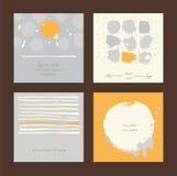 Vector le carte disegnate a mano quadrate semplici con i cerchi, le bande e la varia progettazione Immagine Stock Libera da Diritti