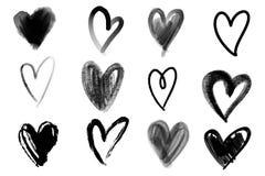 Vector le collezioni di cuori disegnati a mano del biglietto di S. Valentino di lerciume isolati su fondo bianco illustrazione di stock