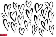 Vector le collezioni di cuori disegnati a mano del biglietto di S. Valentino di lerciume isolati su fondo bianco royalty illustrazione gratis